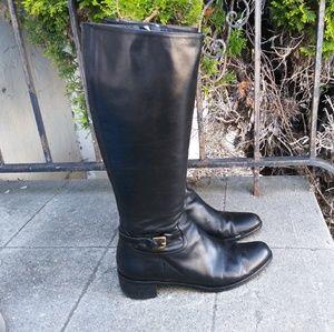Lk Bennett Tall Black Leather Boots Size 40